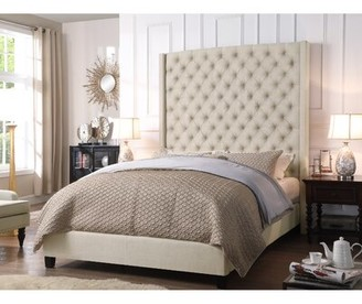 BEIGE iNSTANT HOME Antonio Wingback Tufted High Headboard Upholstered Standard Bed iNSTANT HOME Size: Queen, Color