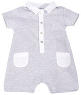 Patachou Collared Button-Front Jersey Shortall, Gray, Size 3-9 Months