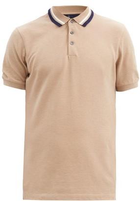 Brunello Cucinelli Striped-collar Cotton-pique Polo Shirt - Light Brown