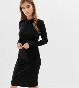 Vero Moda Petite slinky bodycon roll neck mini dress in black