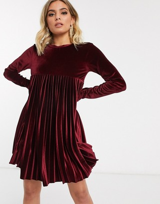Asos Design DESIGN long sleeve pleated smock mini dress in velvet-Red