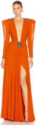 Dundas Embellished Dress in Orange | FWRD