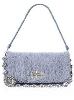 Miu Miu Crystal-Strap Shearling & Leather Pochette