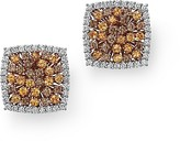 Roberto Coin 18K Gold Brown Diamond, White Diamond and Orange Garnet Square Earrings