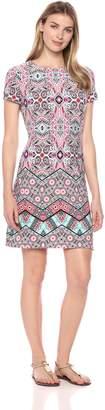 London Times Women's Short Sleeve Round Neck Matte Jersey Shift Dress