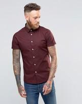 Asos Skinny Shirt In Dark Plum With Short Sleeves