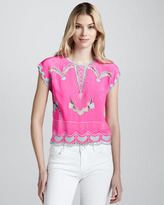 Nanette Lepore Olympia Embroidered Silk Blouse