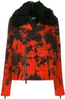 DSQUARED2 tie-dye denim biker jacket