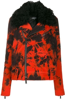DSQUARED2 Tie-Dye Denim Biker Jacket