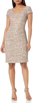 Alex Evenings Women's Midi Length Embroidered Fit and Flare Dress