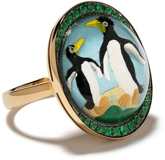 Francesca Villa 18kt Yellow Gold Penguin Emerald Ring