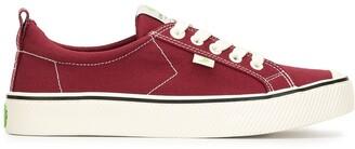 Cariuma OCA Low Stripe Burgundy Red Canvas Sneaker