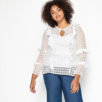 Castaluna Plus Size Ruffled Cotton Blouse