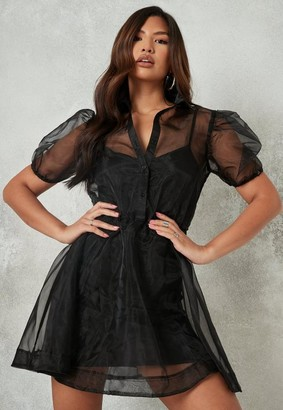 Missguided Organza Puff Sleeve Shirt Dress