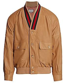 Gucci Men's Leather Bomber Jacket