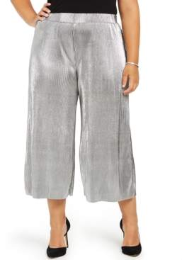 Michael Kors Michael Plus Size Pleated Metallic Pants