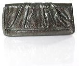 Lauren Merkin Gray Metallic Snakeskin Print Ruched Medium Clutch Handbag