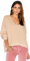 Frankie Varsity Oversized V Neck Sweater in Beige. - size M (also in S)
