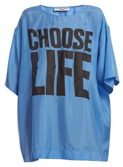 Katharine Hamnett Choose Life Print Silk T Shirt - Womens - Blue