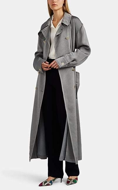 Giorgio Armani Women's Cotton-Blend Double-Breasted Trench Coat - Gray