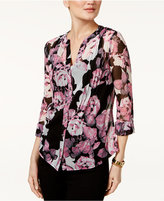 INC International Concepts Floral-Print Pintucked Blouse, Only at Macy's