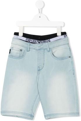 Emporio Armani Kids layered hem denim shorts