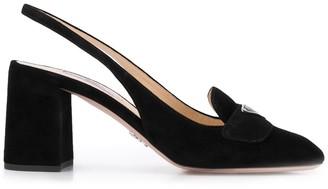 Prada block heel sling back pumps