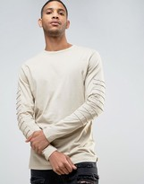 Asos Longline Long Sleeve T-Shirt With Loopback Patches