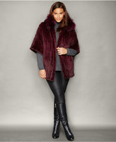The Fur Vault Plus Size Fox-Trim Knitted Mink Fur Hooded Jacket