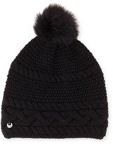 UGG Cable-Knit Beanie w/ Pompom, Black