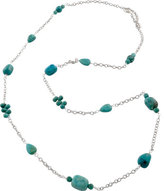 Barse Women's Silver Overlay/Turquoise Necklace SIERN04TP