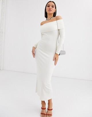 Bardot Asos Design ASOS DESIGN long sleeve rib midi dress-Cream
