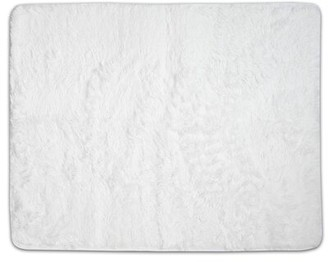 Hutton Plush Faux Fur White Area Rug Wrought Studio