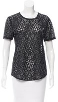 Equipment Short Sleeve Lace-Accented Top