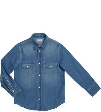 Brunello Cucinelli Boy's Long-Sleeve Button-Down Denim Shirt, Size 4-6