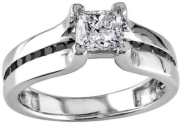 Black Diamond MODERN BRIDE Midnight 1 CT. T.W. White & Color-Enhanced 14K White Gold Engagement Ring