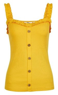 Dorothy Perkins Womens Tall Yellow Frill Button Vest, Yellow