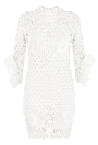 Quiz White Crochet Lace Frill Sleeve Midi Dress
