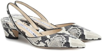 Jimmy Choo x KAIA K-Slingback python-effect leather slingback pumps