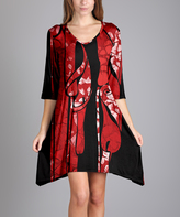 Aster Red & Black Abstract Sidetail Dress - Plus Too