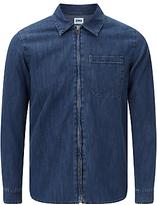 Edwin Demo Zipped 12oz Selvedge Denim Shirt, Light Blue