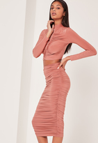 Missguided Pink Ruched Side Slinky Midi Skirt
