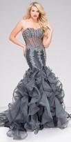 Jovani Rhinestone Encrusted Illusion Corset Mermaid Prom Dress