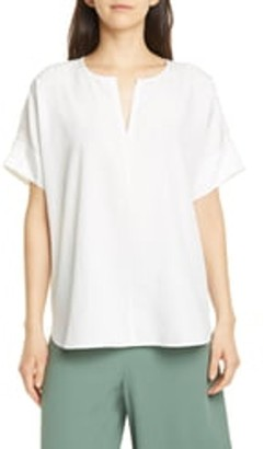 Eileen Fisher Slit Neck Boxy Top