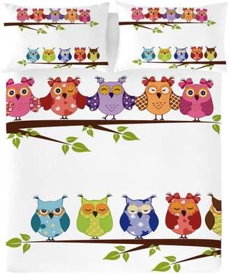 Gouchee Design 3-Piece Buhos Owl Print Duvet Cover Set