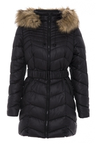 Quiz Black And Beige Chevron 3/4 Belted Hood Jacket