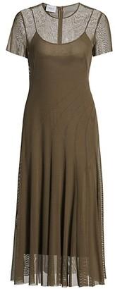 Akris Punto Mesh Side Slit Midi Dress