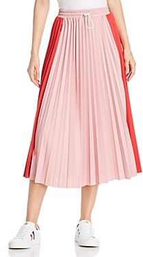 Moncler Color-Block Pleated Midi Skirt