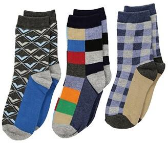 Jefferies Socks Funky Plaid Dress Socks 3-Pack (Toddler/Little Kid/Big Kid) (Multi) Boys Shoes