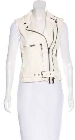 R 13 Leather Moto Vest